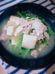 豆苗と豆腐のうま煮