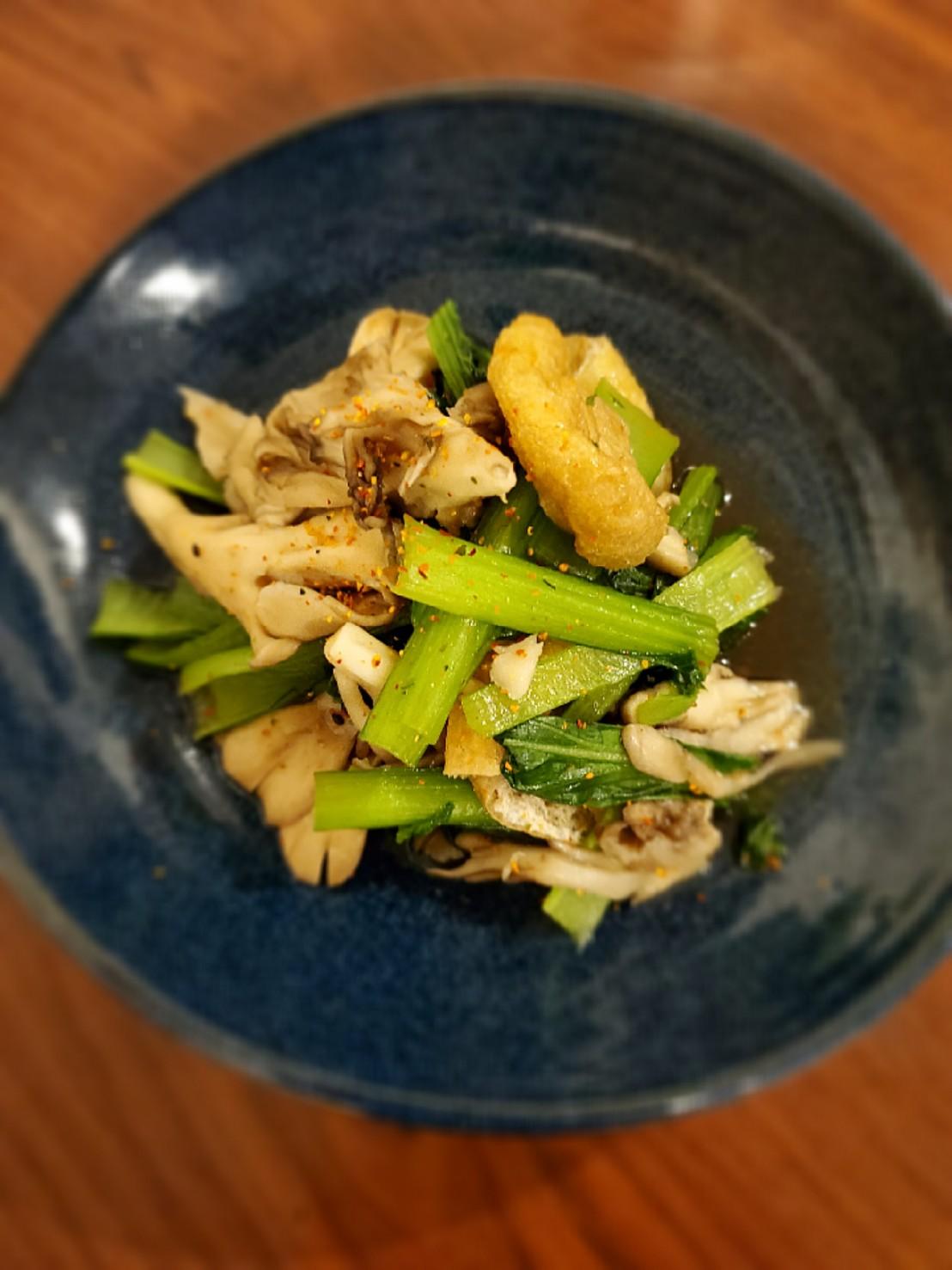 小松菜と舞茸の白だしお浸し